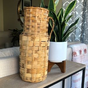 Vintage Tall Woven Rattan Basket Vase with Handle